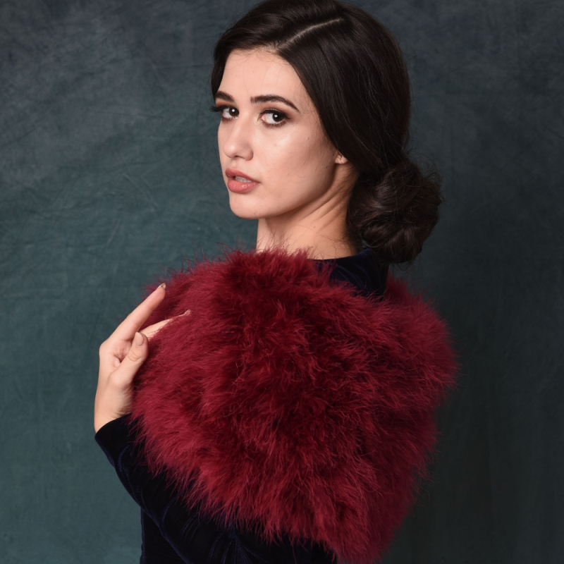 Sass B Collection - Vintage Inspired Marabou Feather Stole - Wine 2