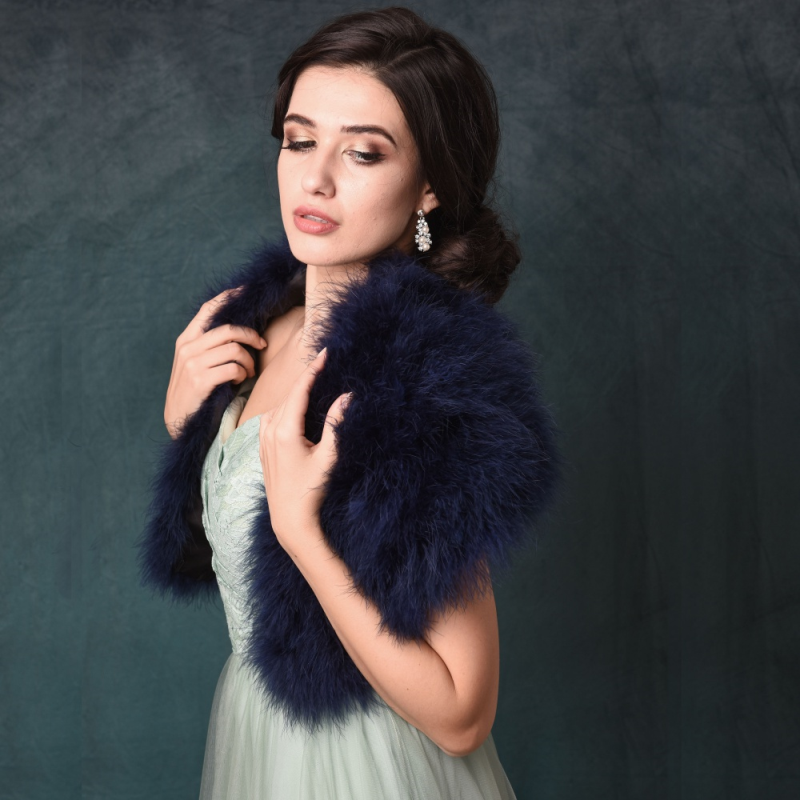 Sass B Collection - Vintage Inspired Marabou Feather Stole - Navy 1