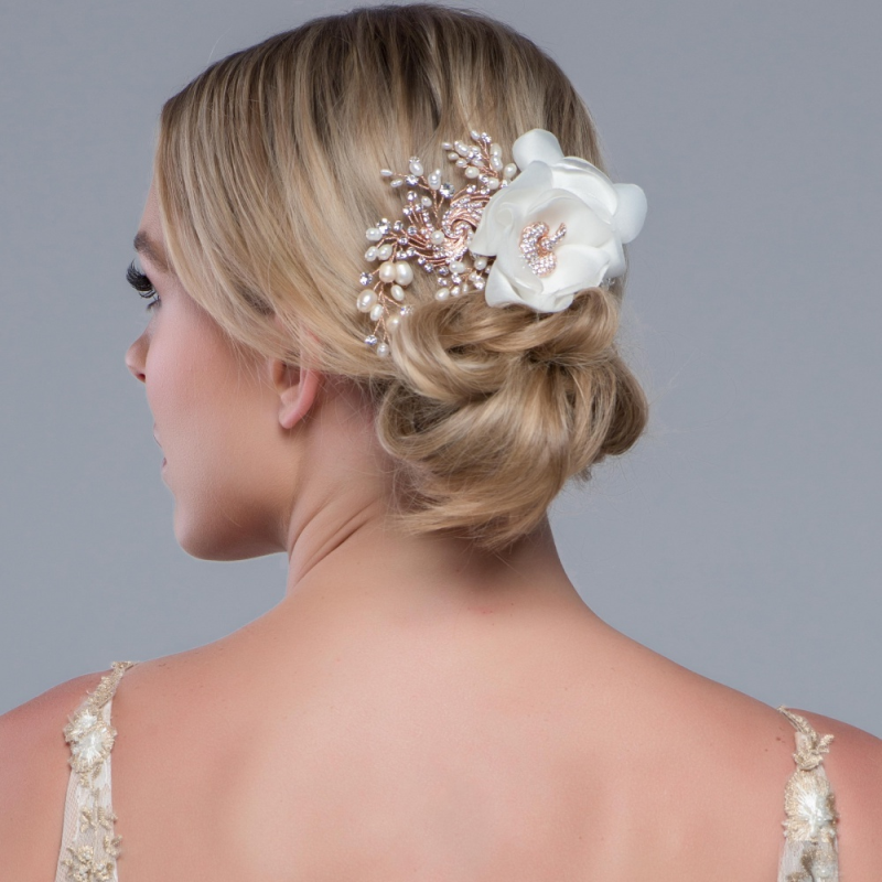 Sass B Miriam Crystal Flower Headpiece - Rose Gold 2