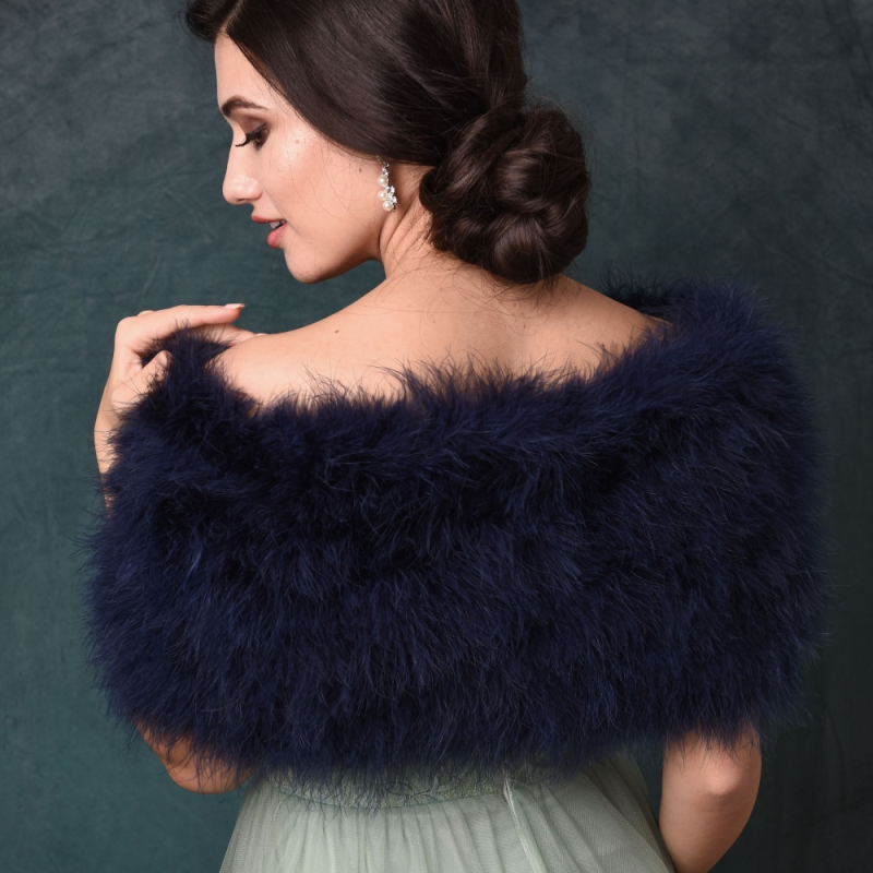 Sass B Collection - Vintage Inspired Marabou Feather Stole - Navy 3