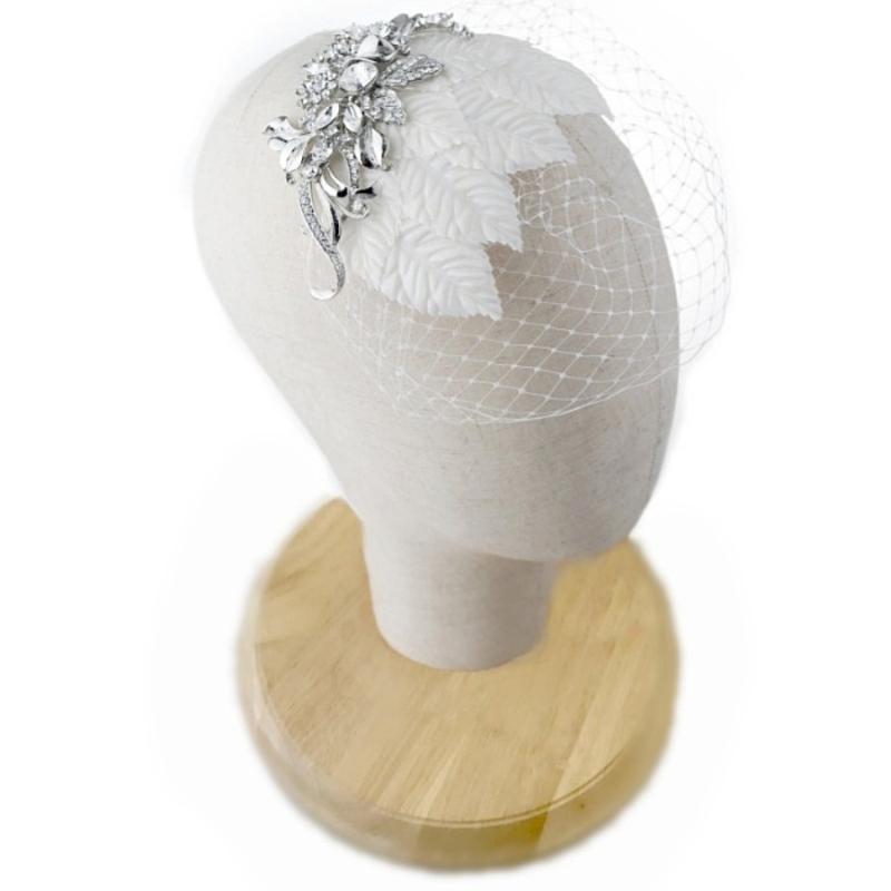 Elite Collection - Regal Luxe Birdcage Veil - Silver 2