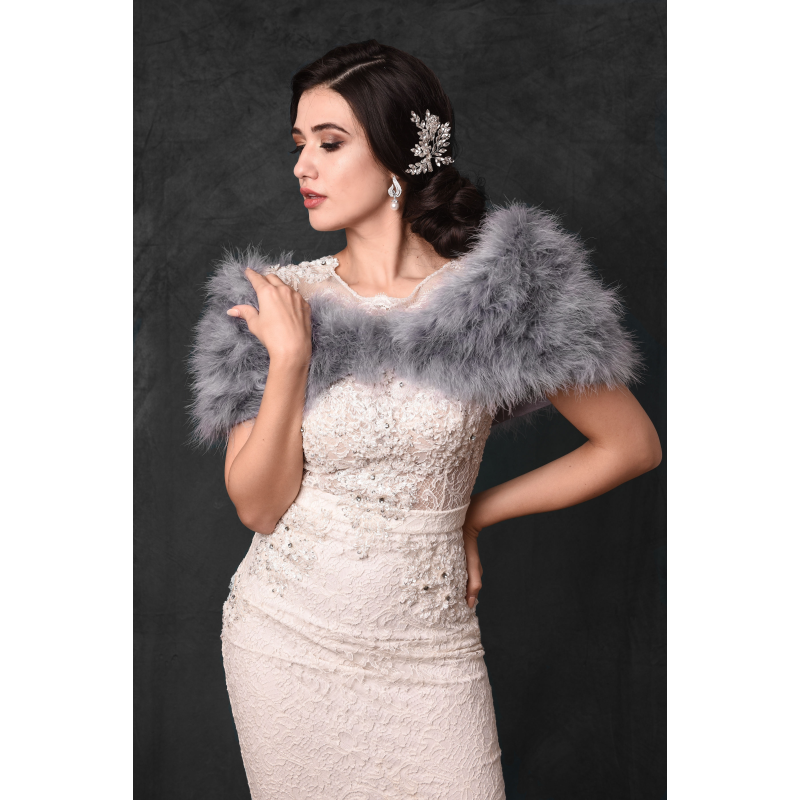 Sass B Collection - Vintage Inspired Marabou Feather Stole - Grey 3