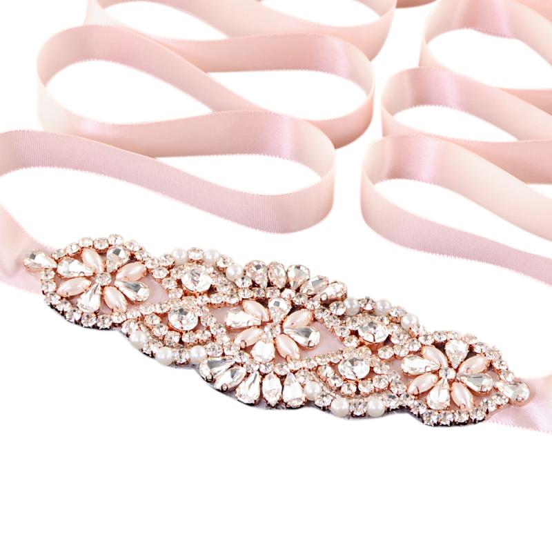 Athena Collection - Timeless Elegance Bridal Belt - Pink Rose 1