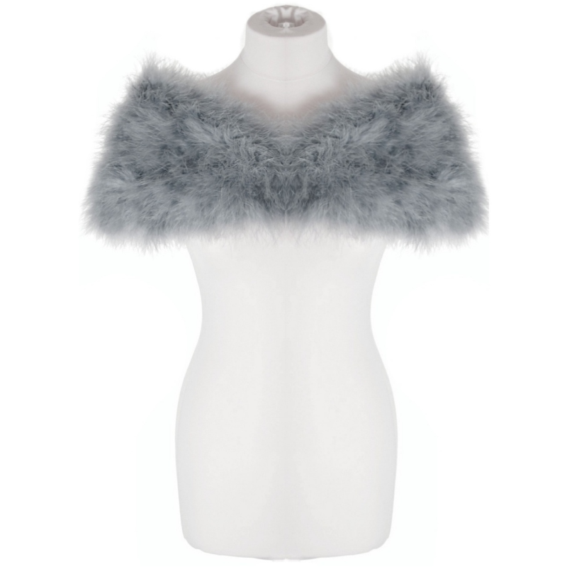 Sass B Collection - Vintage Inspired Marabou Feather Stole - Grey 4
