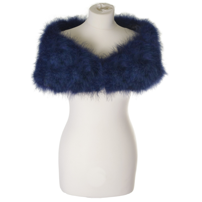 Sass B Collection - Vintage Inspired Marabou Feather Stole - Navy 4