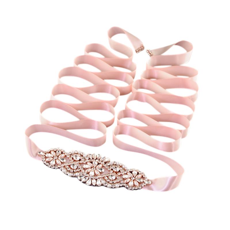 Athena Collection - Timeless Elegance Bridal Belt - Pink Rose 3