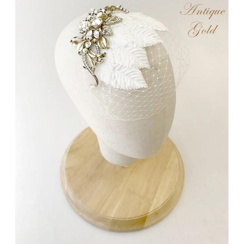Elite Collection - Regal Luxe Birdcage Veil - Gold 2