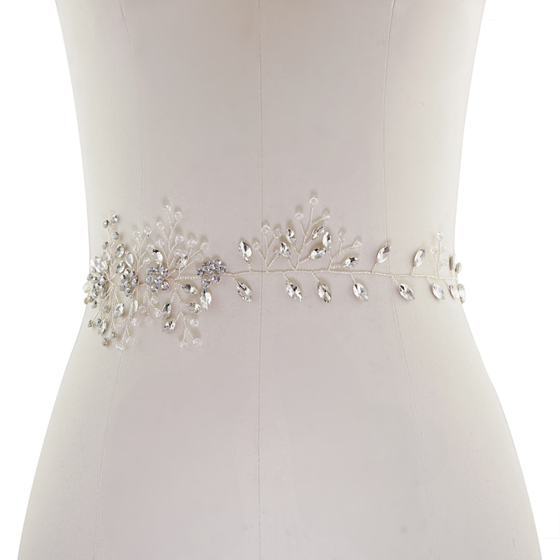 Athena Collection - Crystal Chic Bridal Belt - Silver 3