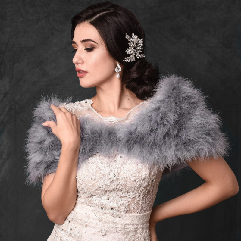 Sass B Collection - Vintage Inspired Marabou Feather Stole - Grey 1