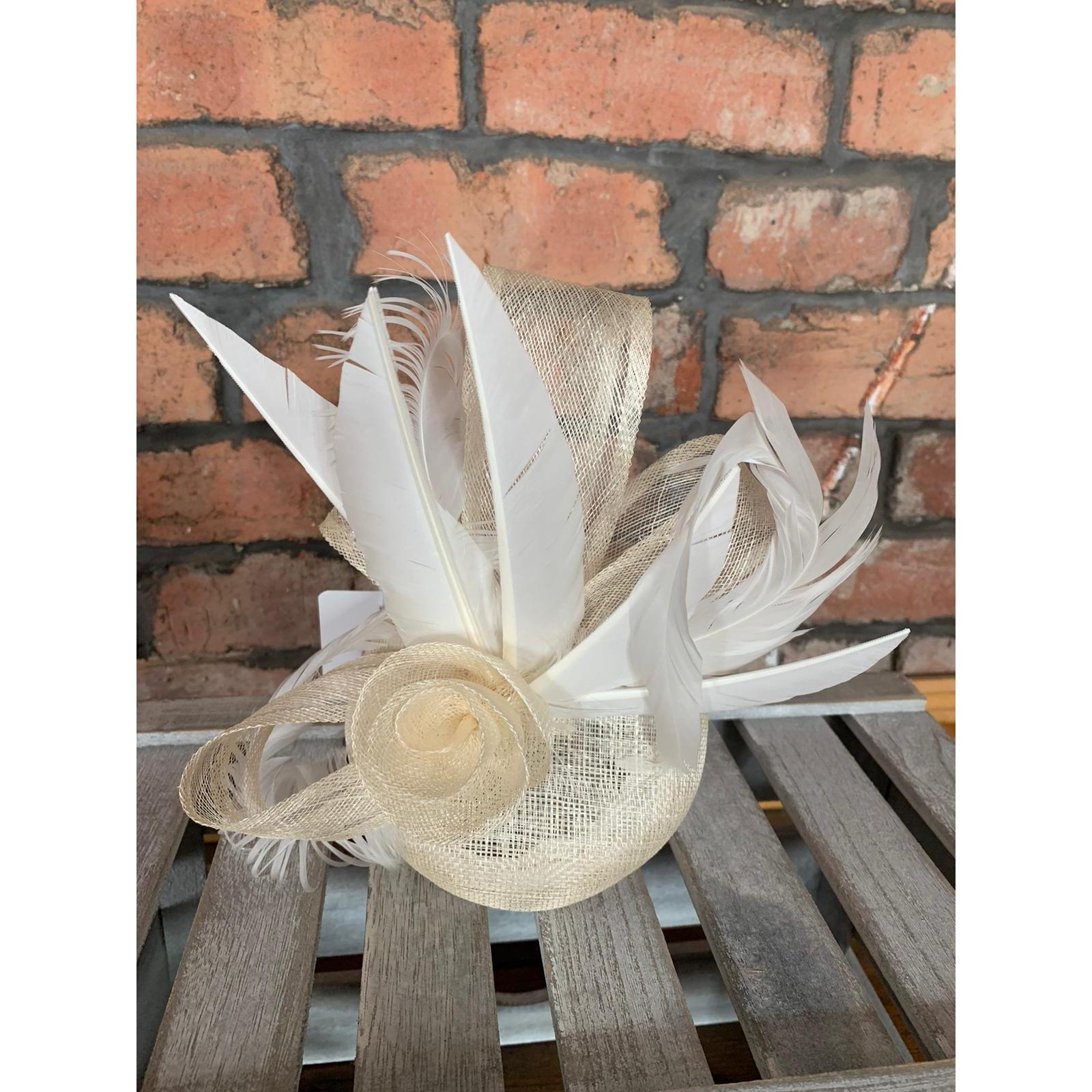 Pill Box Fascinator Ivory Roses and Feathers 1