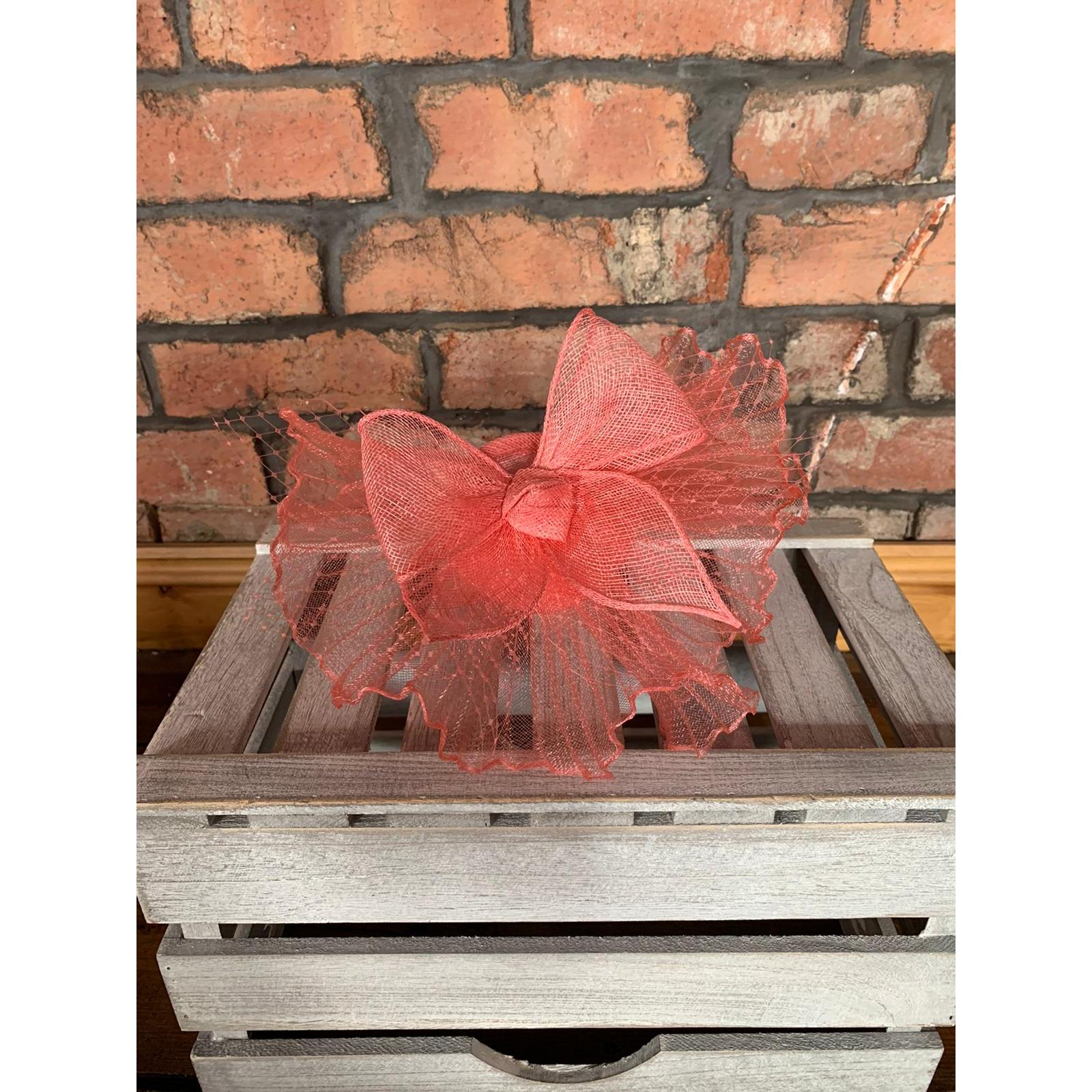 Fascinator Flo Coral Pink Bow and Net 1
