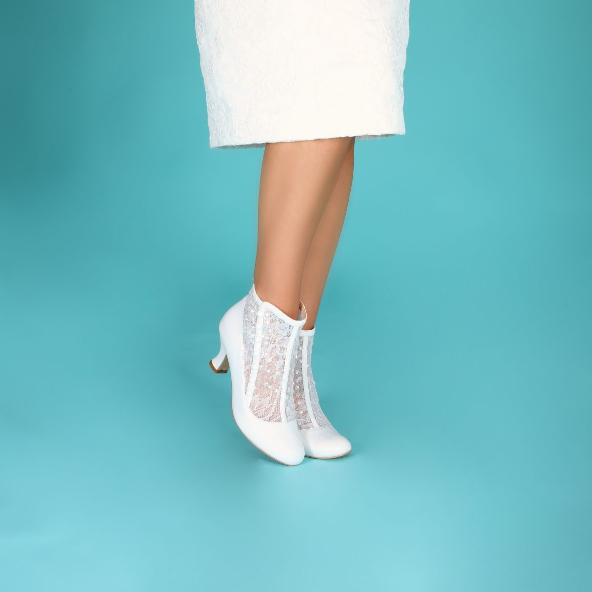 Perfect Bridal Halle Boots - Ivory Leather /Sequin Mesh 3