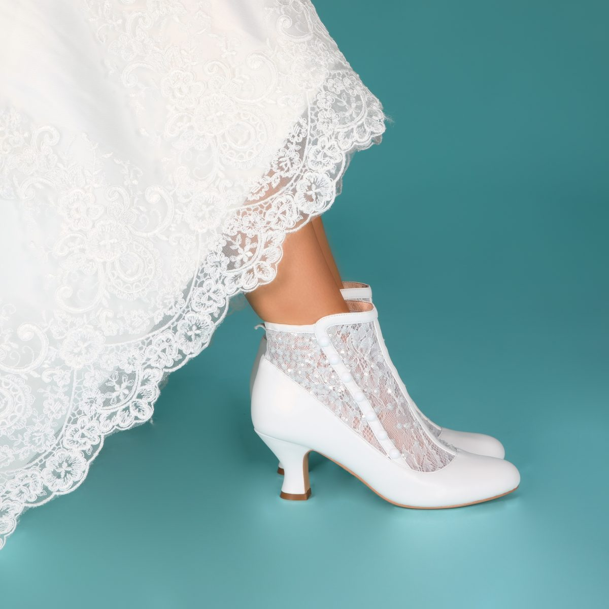 Perfect Bridal Halle Boots - Ivory Leather /Sequin Mesh 2
