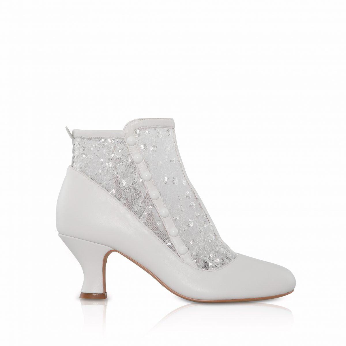Perfect Bridal Halle Boots - Ivory Leather /Sequin Mesh 1