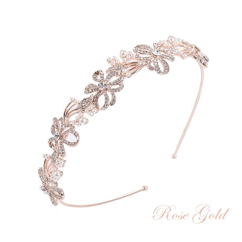 Athena Collection - Chic Crystal Treasure Headband - Rose Gold 1