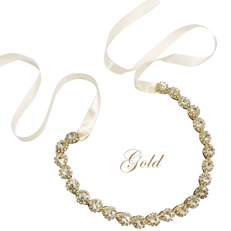 Athena Collection - Exquisite Crystal Hair Vine - Gold 2