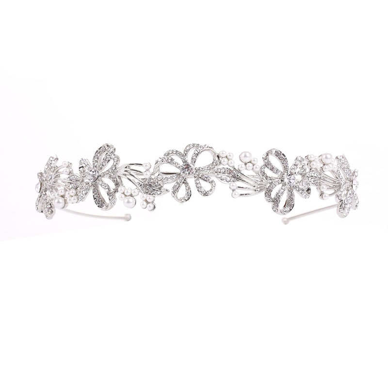 Athena Collection - Chic Crystal Treasure Headband Silver 2