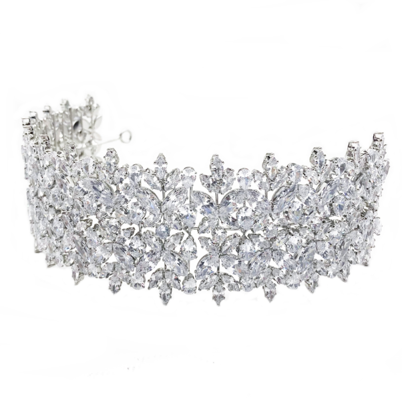 Cubic Zirconia Collection - Bejewelled Deco Headpiece - Silver 1