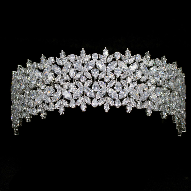 Cubic Zirconia Collection - Bejewelled Deco Headpiece - Silver 2