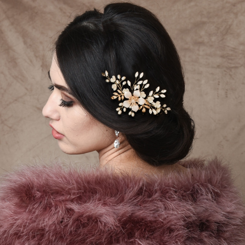Athena Exquisite Romance Hair Comb - Pink Blush 1