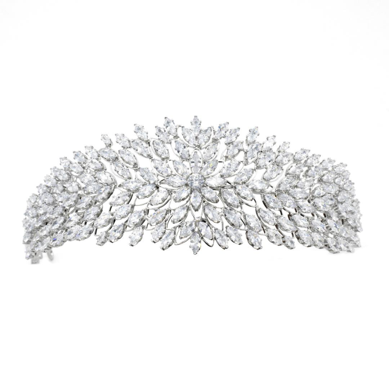 Cubic Zirconia Collection - Luxe Glam Headband - Silver 1