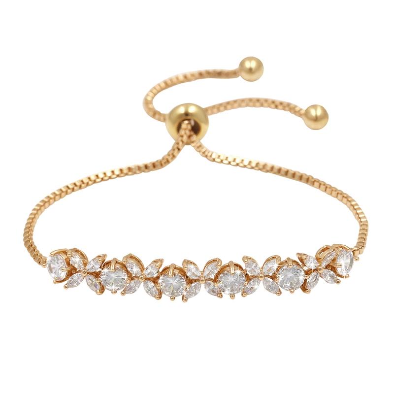 CZ Grace Crystal Bracelet - Gold -Adjustable 1