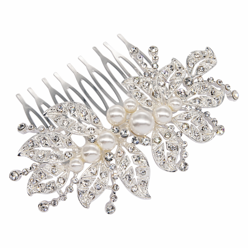 Athena Collection Luxe Vintage Sparkle Comb - Silver 1