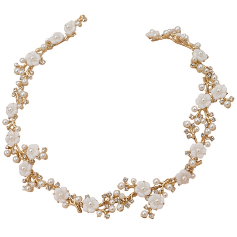 Athena Collection - Eternally Pearl Hair Vine - Gold 2