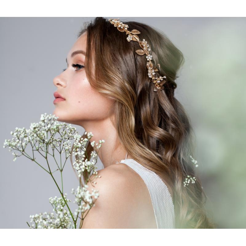 Athena Collection Dazzling Luxe Hair Vine - Dark Gold 1