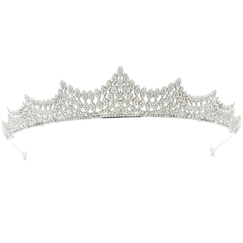CZ Collection Lavish Crystal Tiara - Silver 2