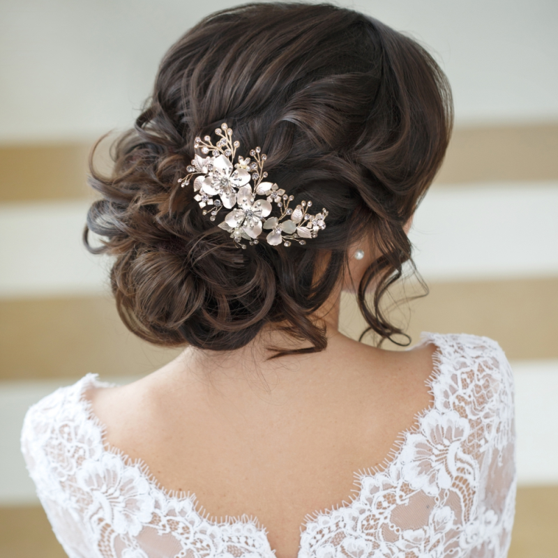 Athena Collection - Exquisite Floral Hair Comb - Silver 2