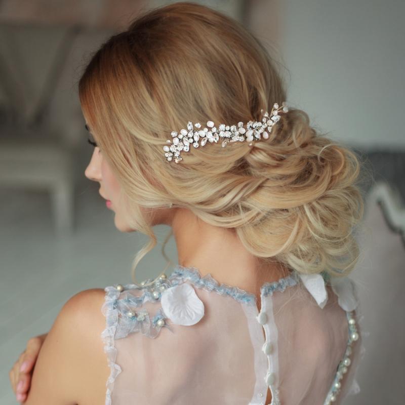 Athena Pearl Allure Hair Comb - Silver 1