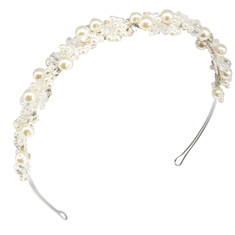 Athena Collection - Pearl Cluster Headband - Silver 1