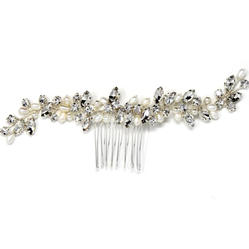 Athena Pearl Allure Hair Comb - Silver 2