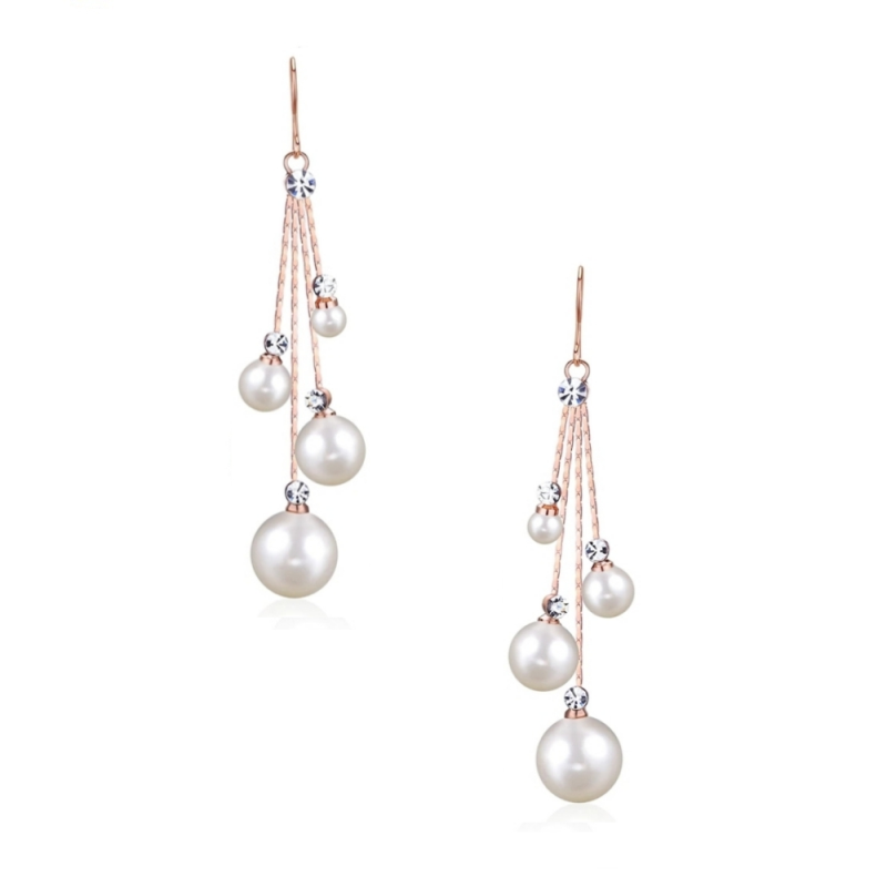 CZ Collection Pearl Drop Earrings - Rose Gold 1