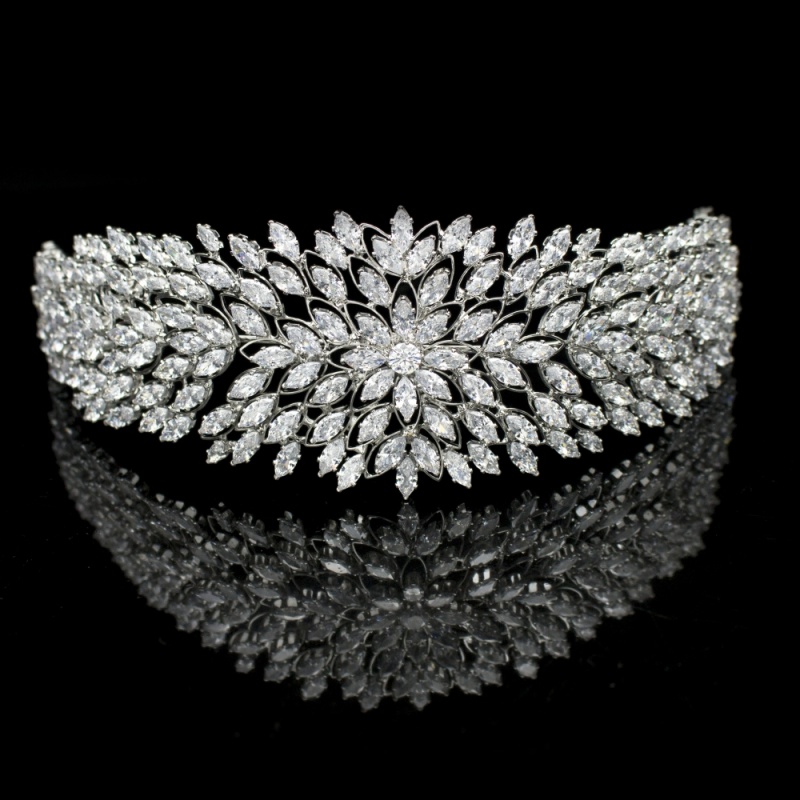 Cubic Zirconia Collection - Luxe Glam Headband - Silver 2
