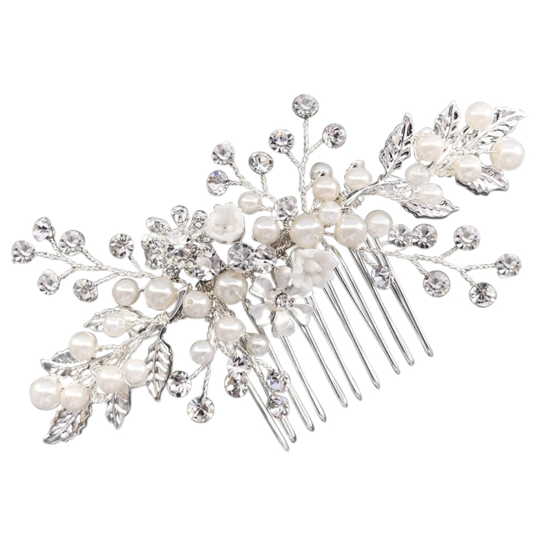 Athena Eternally Pearl Hair Comb - Silver 1