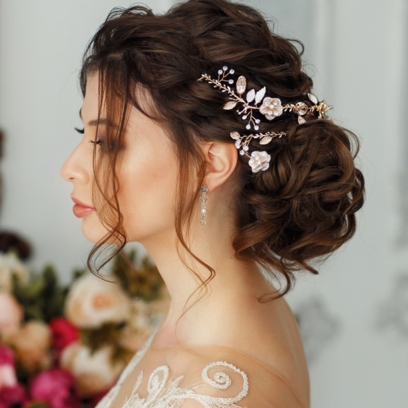 Athena Collection - Glitzy Pink Blush Hairvine - Silver 1