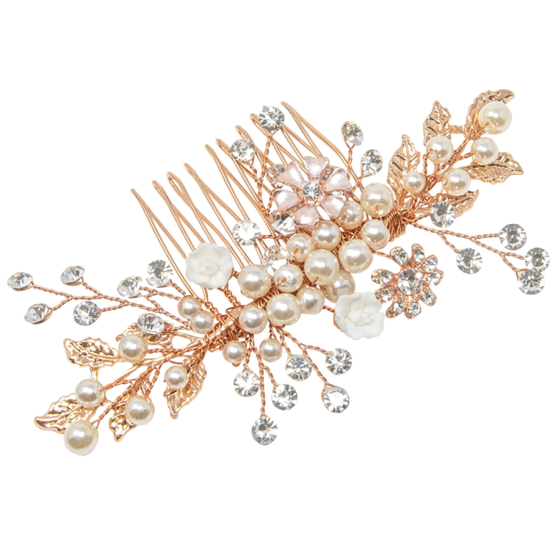 Athena Eternally Pearl Hair Comb - Rose Gold 1