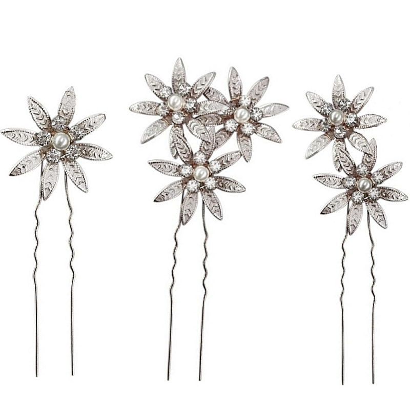 Athena Collection - Crystal Bejewelled Hairpins - Set of 3 - Silver 2