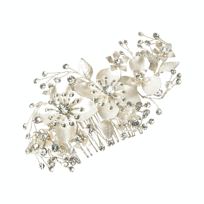 Athena Collection - Exquisite Floral Hair Comb - Silver 1