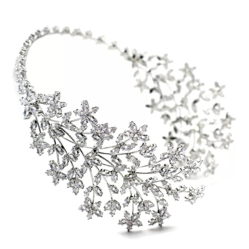 CZ Collection Regal Headpiece - Silver 2
